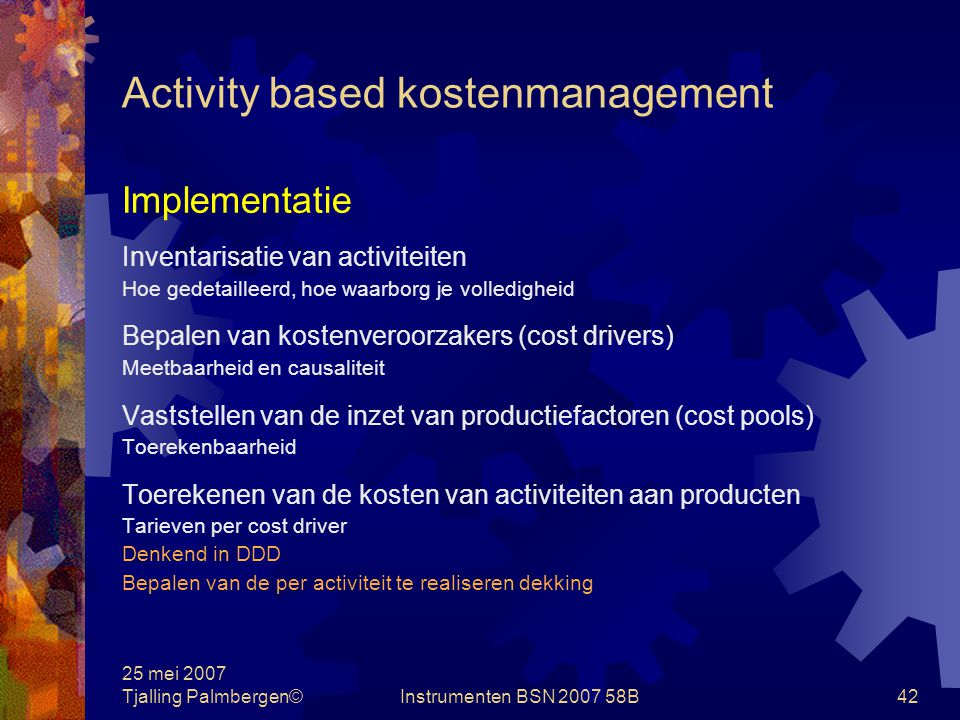 Activity based kostenmanagement