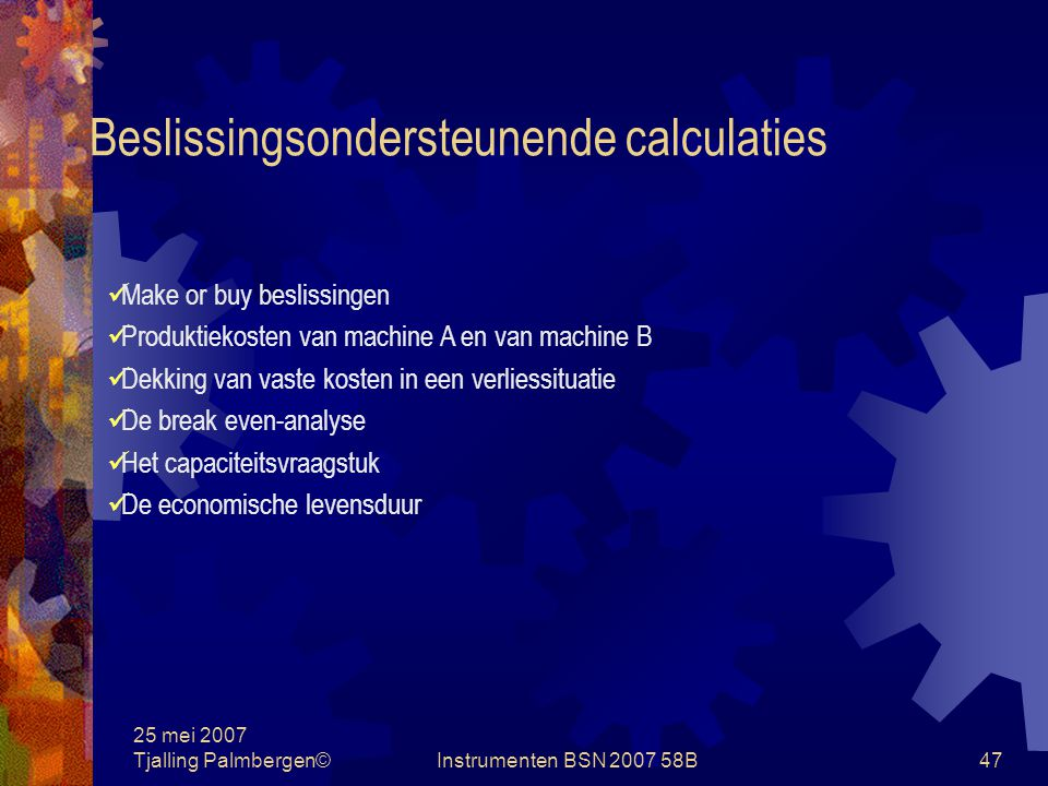 Beslissingsondersteunende calculaties