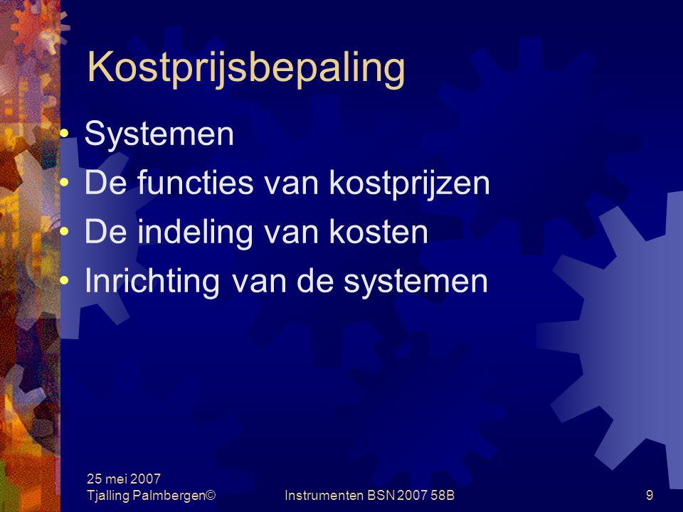 Kostprijsbepaling Systemen De functies van kostprijzen