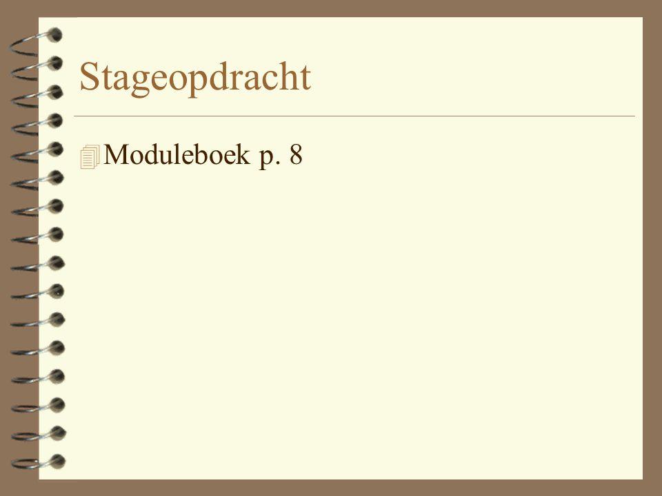 Stageopdracht Moduleboek p. 8