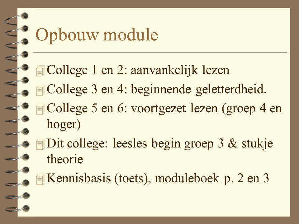 Opbouw module College 1 en 2: aanvankelijk lezen