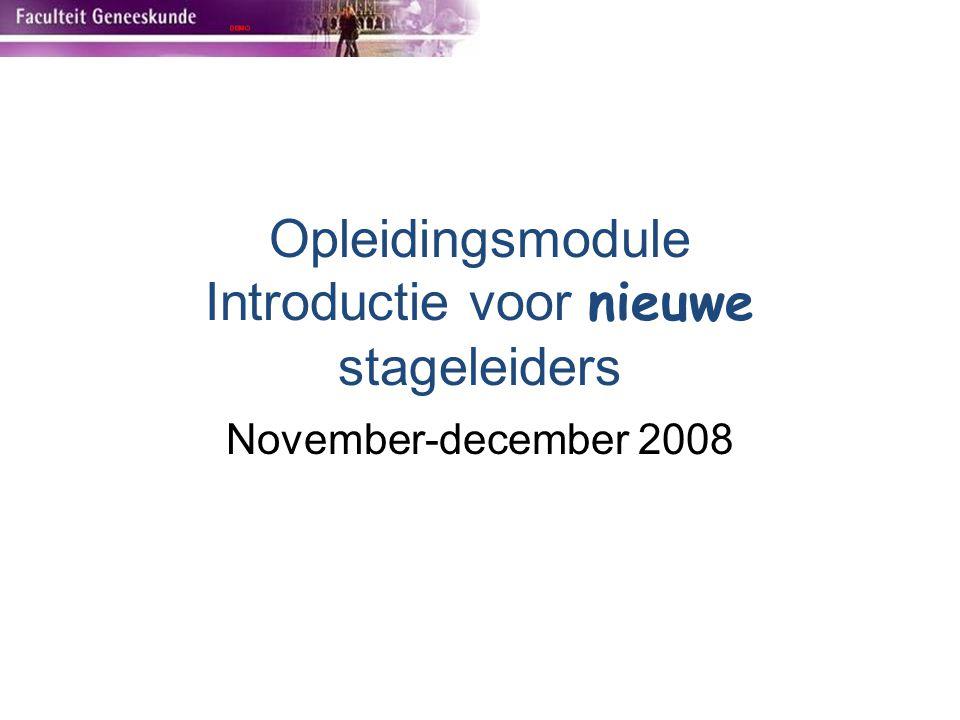 Opleidingsmodule Introductie voor nieuwe stageleiders