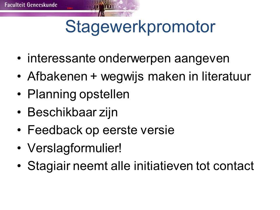 Stagewerkpromotor interessante onderwerpen aangeven