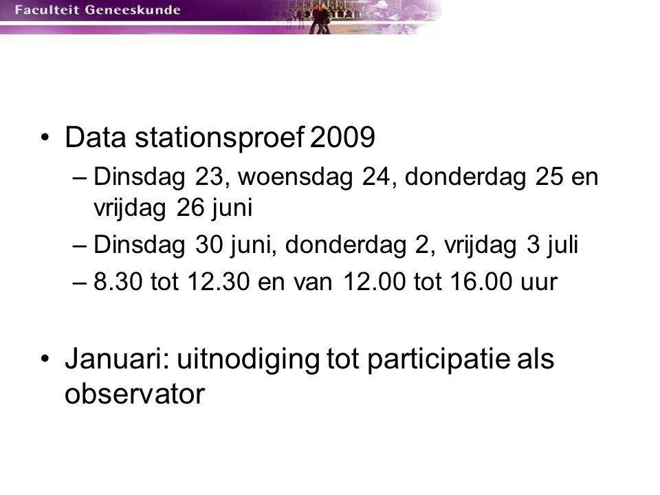 Januari: uitnodiging tot participatie als observator