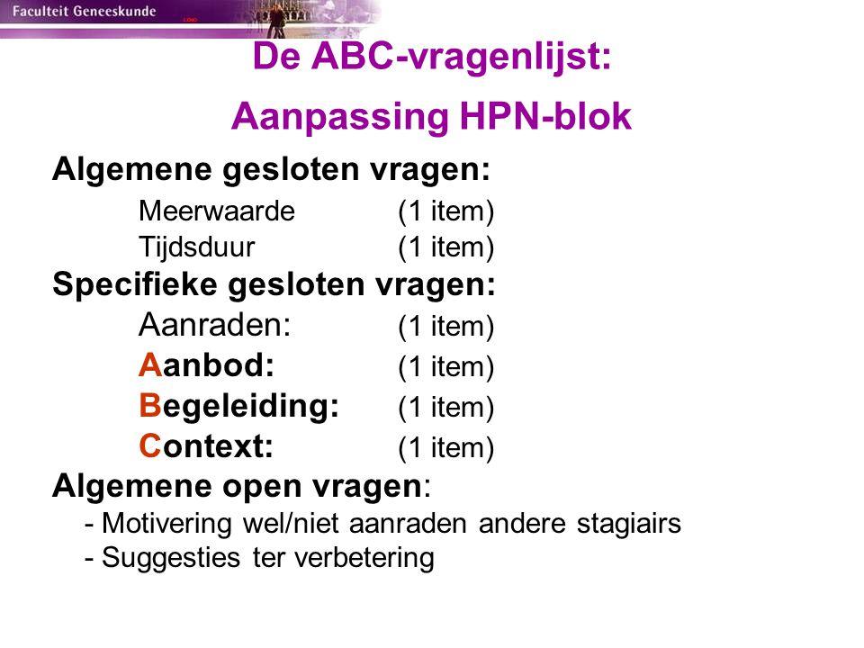 De ABC-vragenlijst: Aanpassing HPN-blok
