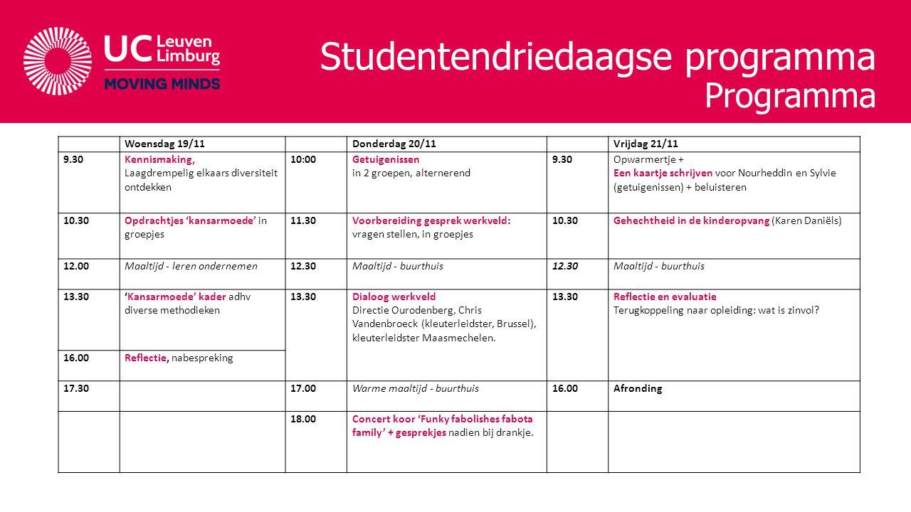 Studentendriedaagse programma Programma