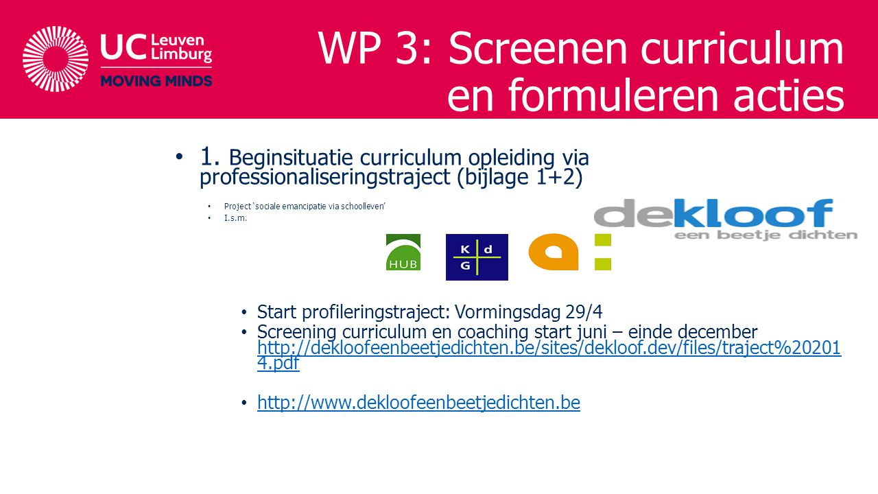 WP 3: Screenen curriculum en formuleren acties