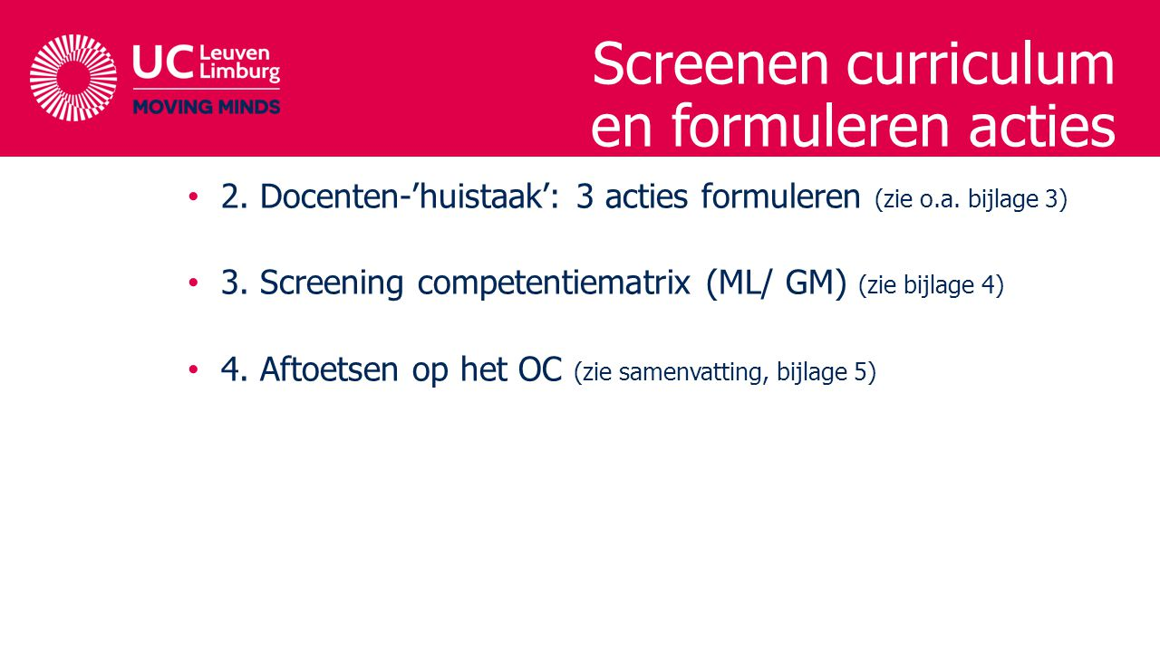 Screenen curriculum en formuleren acties