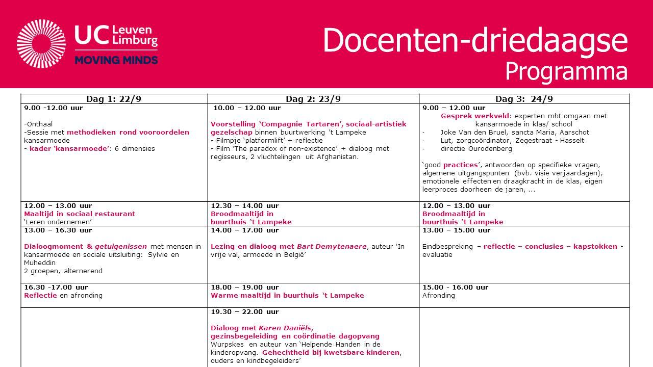 Docenten-driedaagse Programma