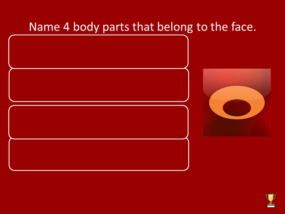 Name 4 body parts that belong to the face.