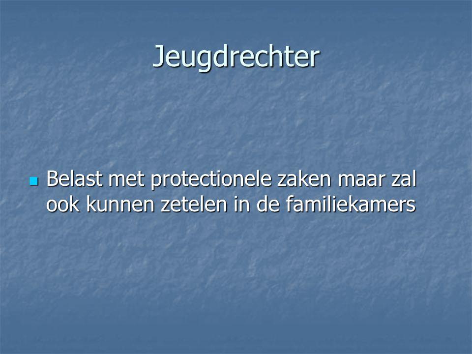 Jeugdrechter Belast met protectionele zaken maar zal ook kunnen zetelen in de familiekamers