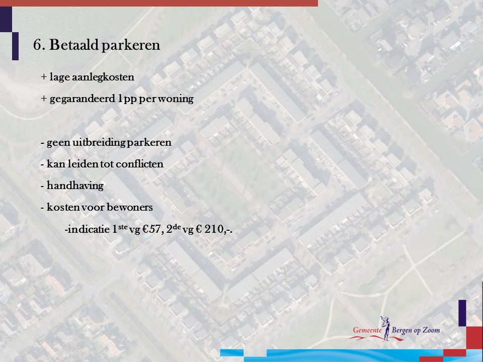 6. Betaald parkeren + lage aanlegkosten + gegarandeerd 1pp per woning
