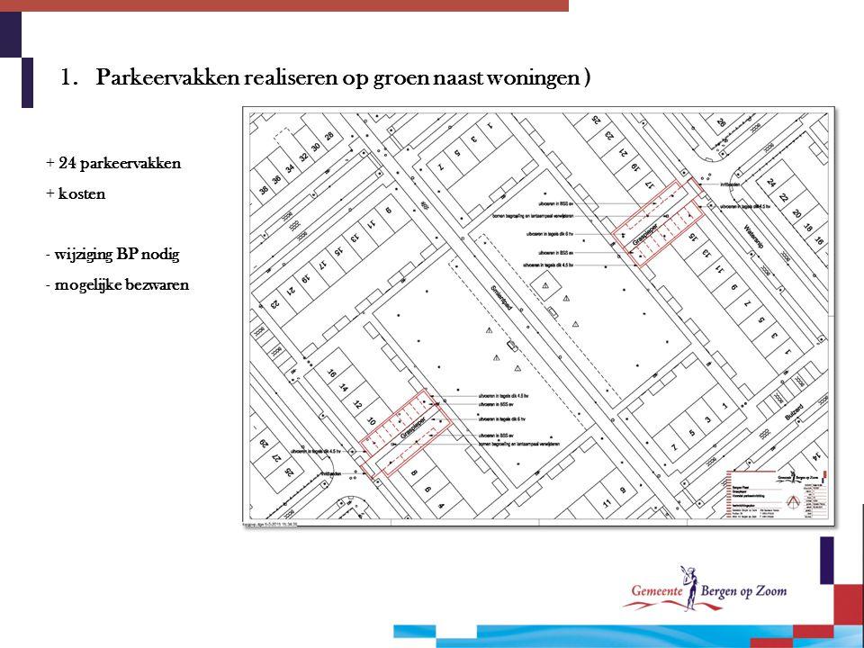 1. Parkeervakken realiseren op groen naast woningen )