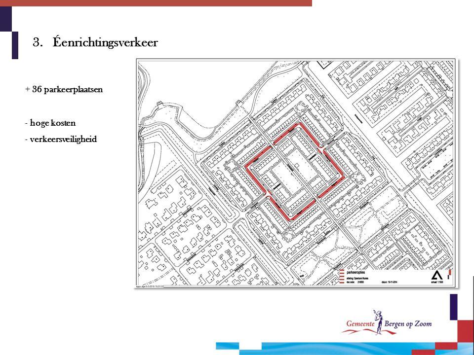 3. Éenrichtingsverkeer + 36 parkeerplaatsen hoge kosten
