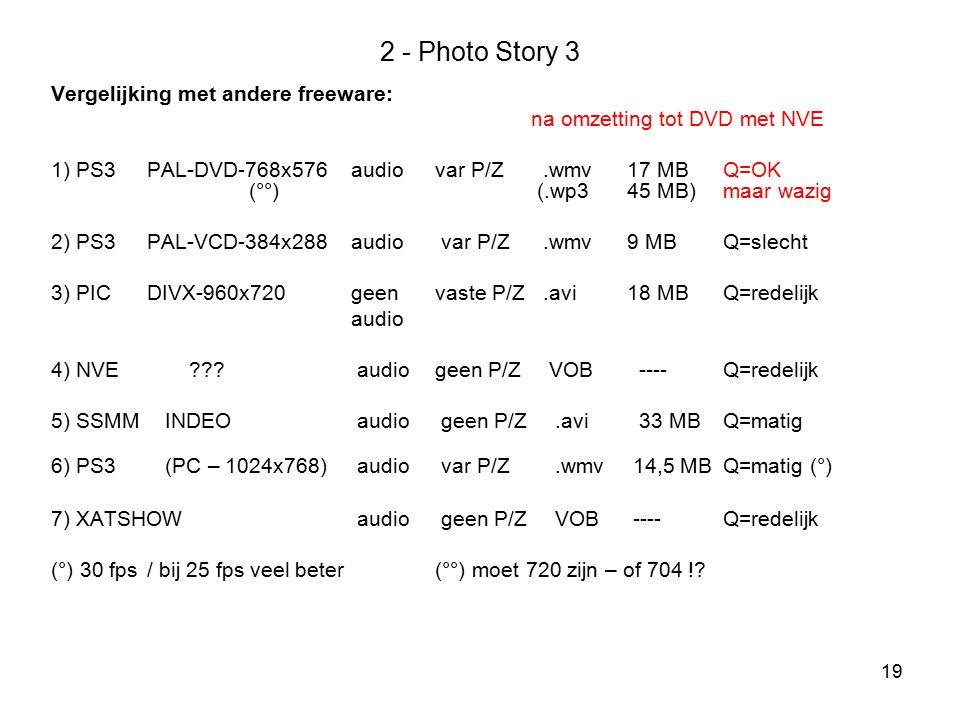 2 - Photo Story 3 Vergelijking met andere freeware: