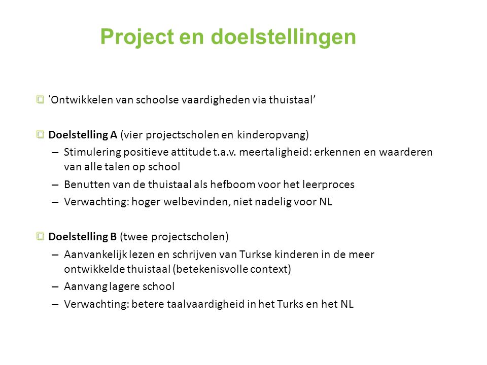 Project en doelstellingen