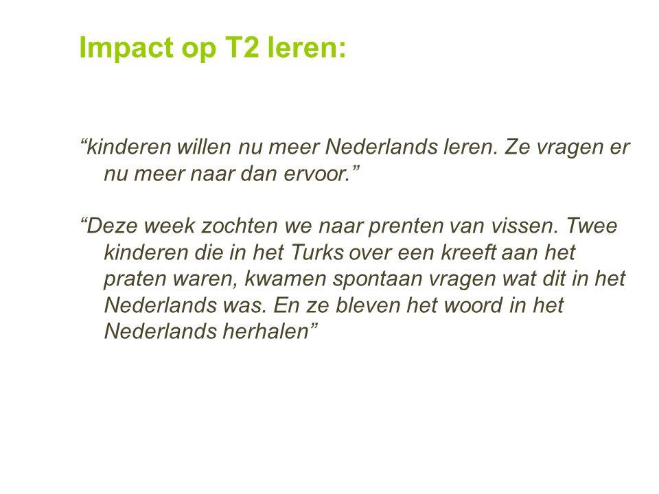 Impact op T2 leren: kinderen willen nu meer Nederlands leren. Ze vragen er nu meer naar dan ervoor.