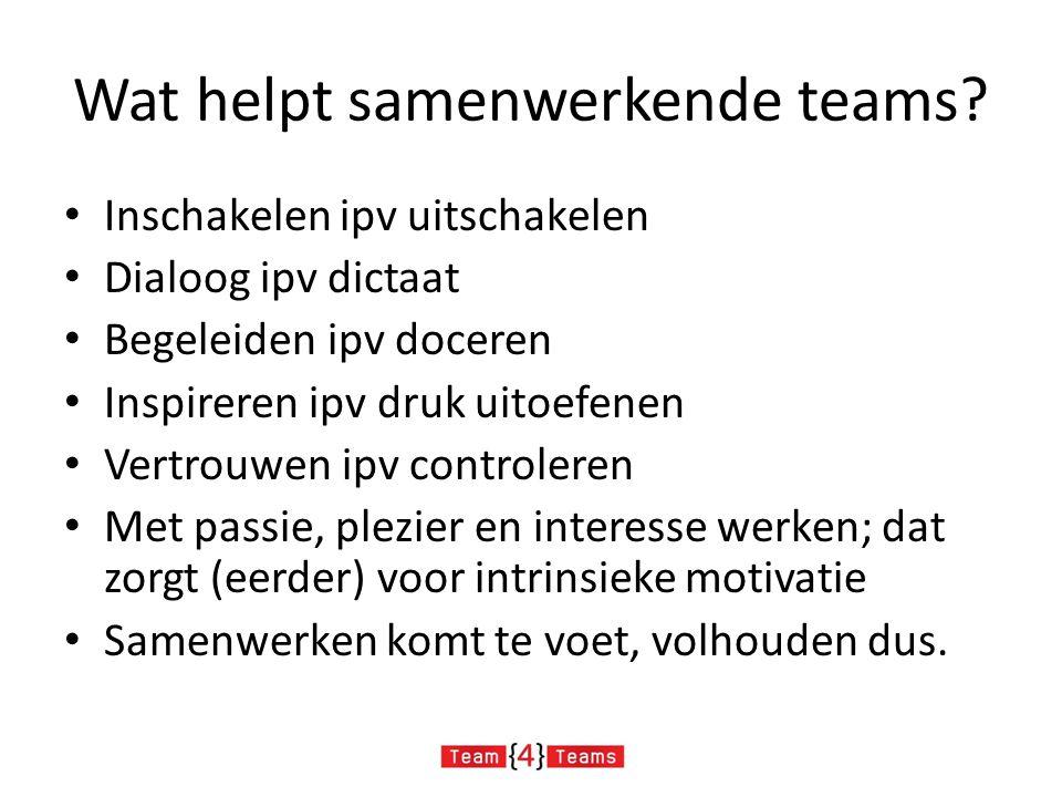 Wat helpt samenwerkende teams