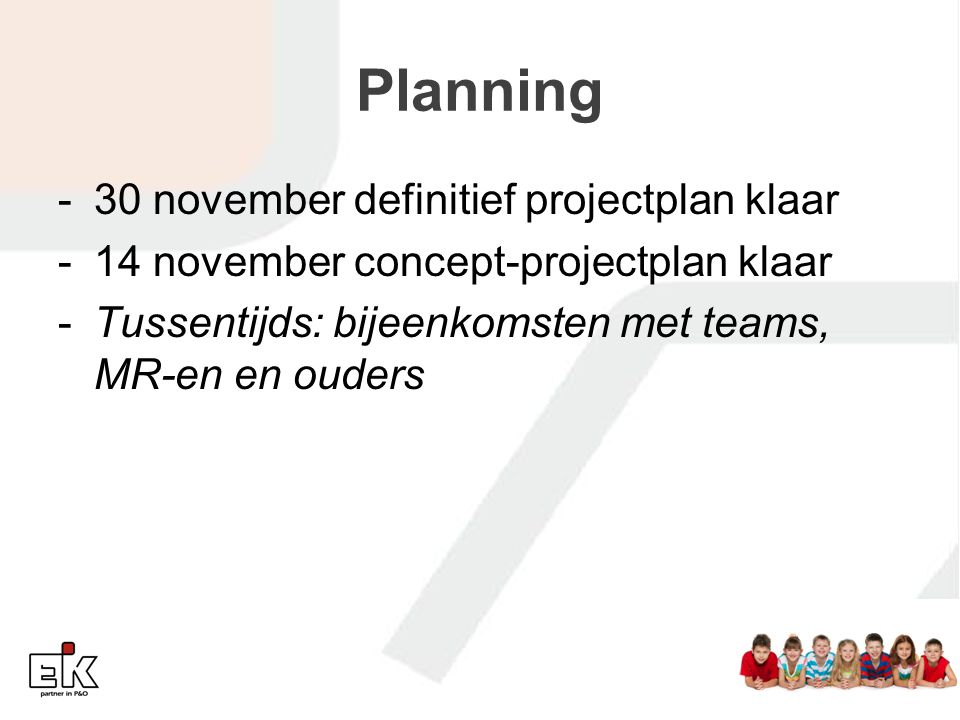 Planning 30 november definitief projectplan klaar