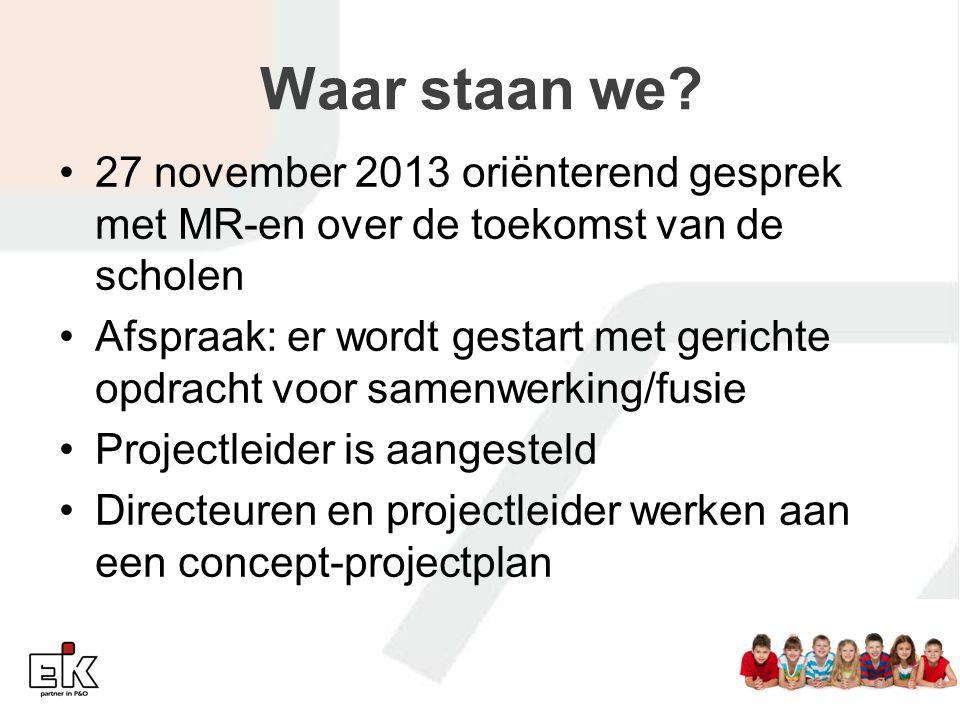 Waar staan we 27 november 2013 oriënterend gesprek met MR-en over de toekomst van de scholen.
