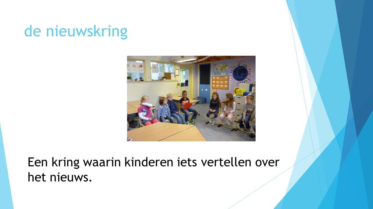 de nieuwskring Een kring waarin kinderen iets vertellen over het nieuws.