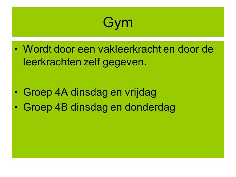Gym Wordt door een vakleerkracht en door de leerkrachten zelf gegeven.