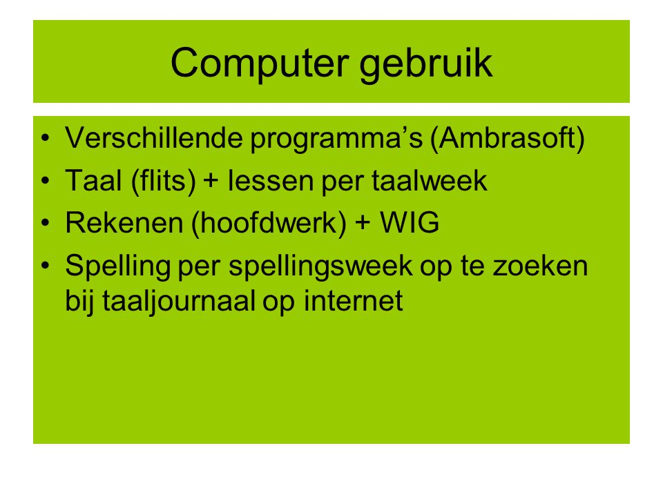 Computer gebruik Verschillende programma's (Ambrasoft)