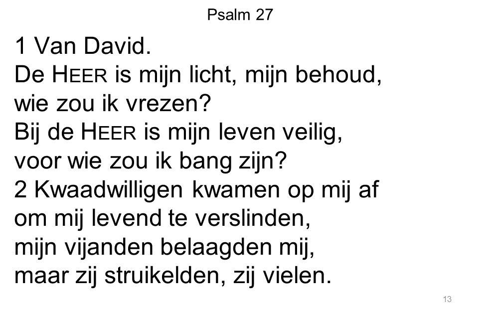 1 Van David. De Heer is mijn licht, mijn behoud, wie zou ik vrezen