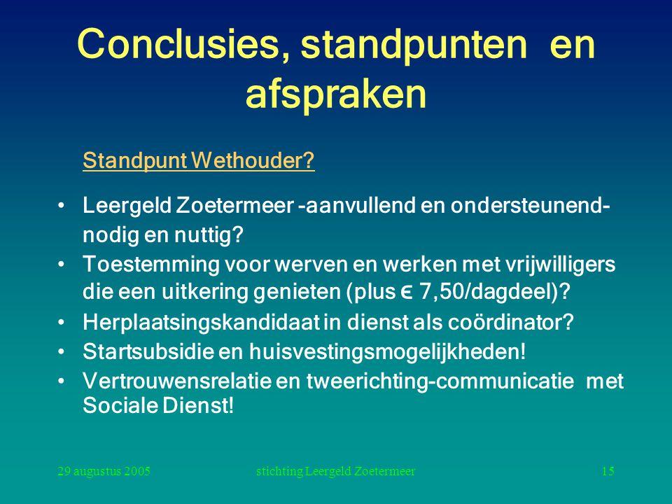 Conclusies, standpunten en afspraken