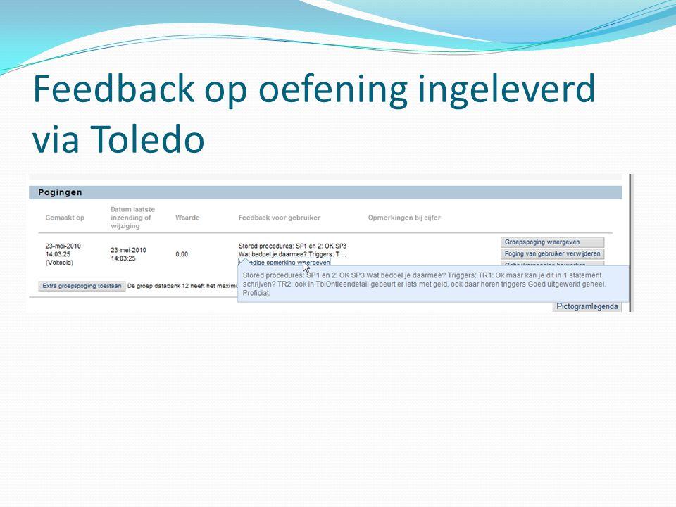 Feedback op oefening ingeleverd via Toledo