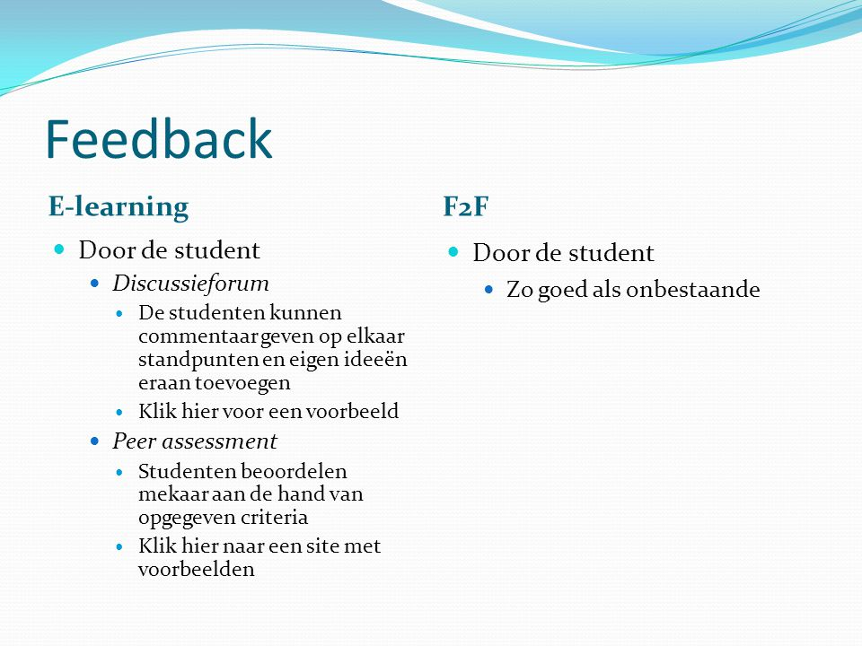 Feedback E-learning F2F Door de student Door de student Discussieforum