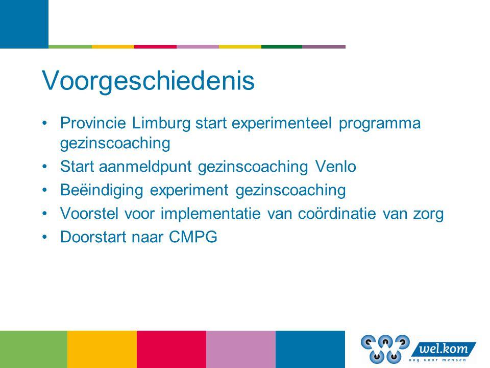 Voorgeschiedenis Provincie Limburg start experimenteel programma gezinscoaching. Start aanmeldpunt gezinscoaching Venlo.
