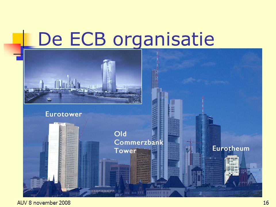 De ECB organisatie AUV 8 november 2008
