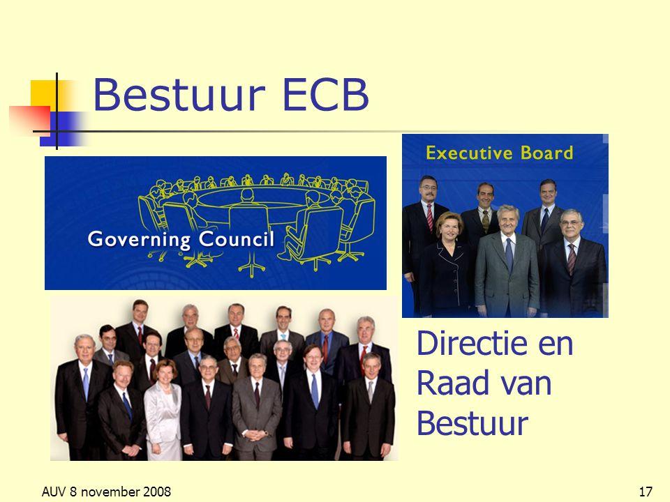 Bestuur ECB Directie en Raad van Bestuur AUV 8 november 2008