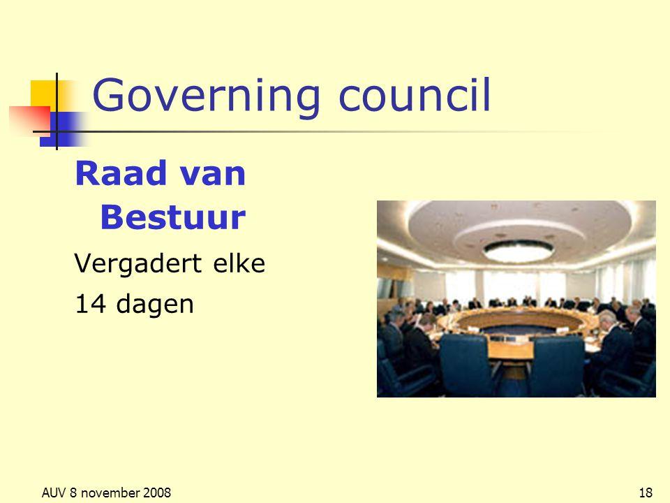 Governing council Raad van Bestuur Vergadert elke 14 dagen