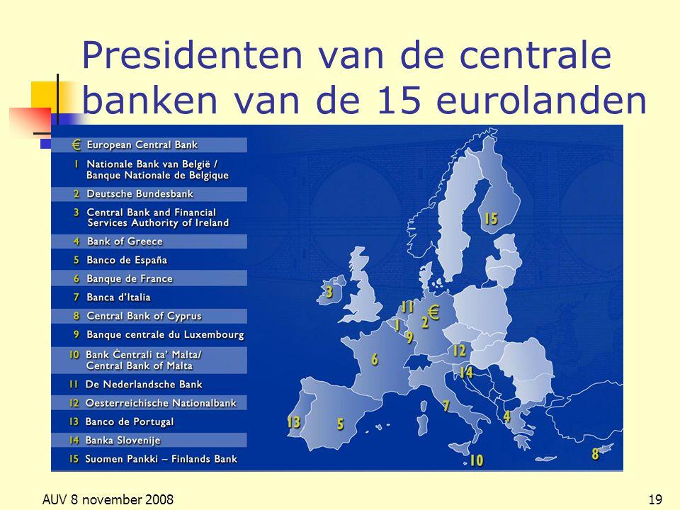 Presidenten van de centrale banken van de 15 eurolanden