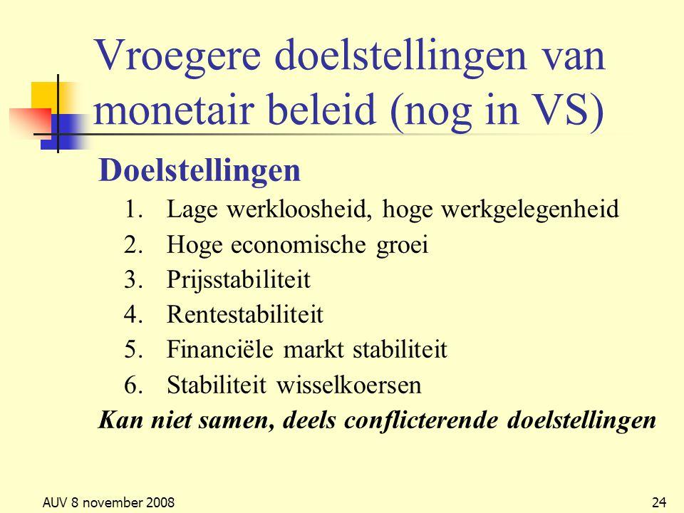 Vroegere doelstellingen van monetair beleid (nog in VS)