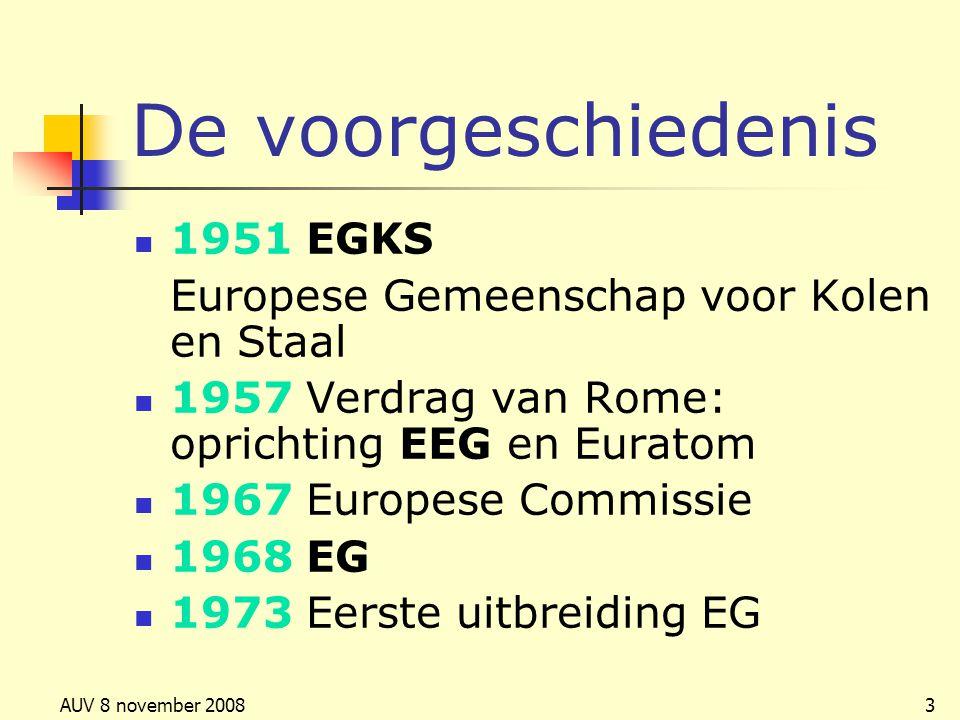 De voorgeschiedenis 1951 EGKS Europese Gemeenschap voor Kolen en Staal