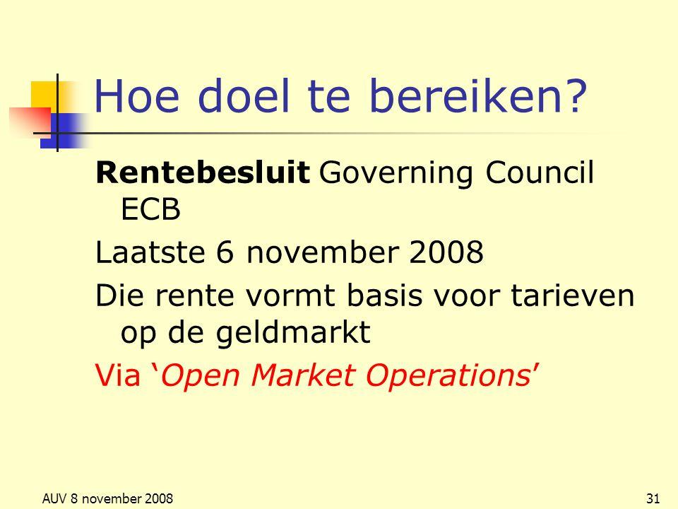 Hoe doel te bereiken Rentebesluit Governing Council ECB