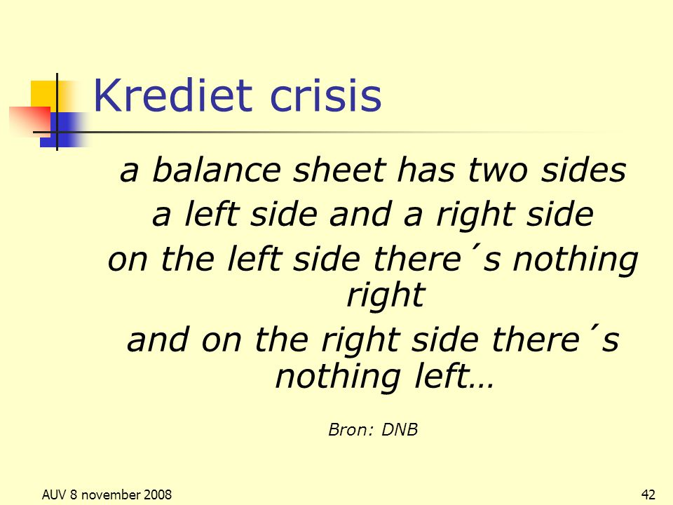 Krediet crisis a balance sheet has two sides