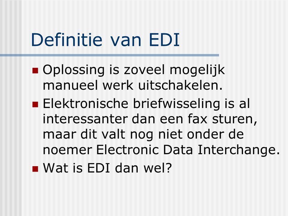 Definitie van EDI Oplossing is zoveel mogelijk manueel werk uitschakelen.