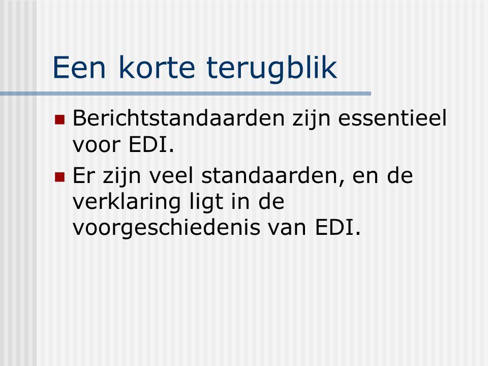 Een korte terugblik Berichtstandaarden zijn essentieel voor EDI.