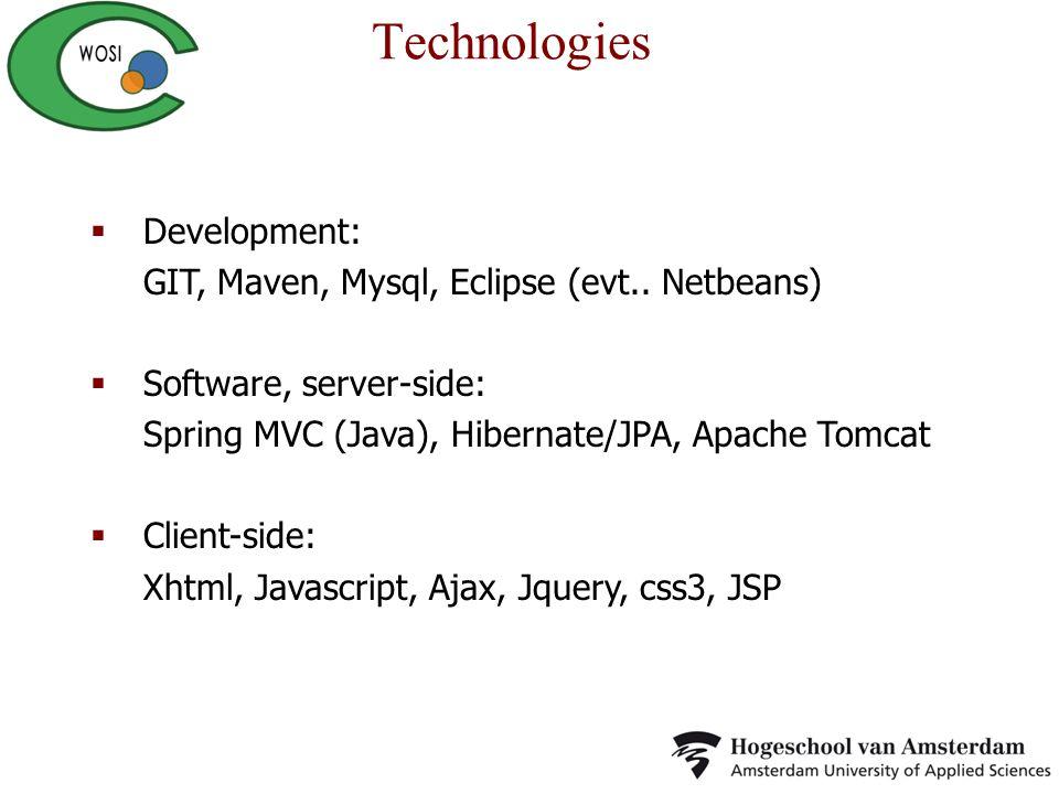 Technologies Development: GIT, Maven, Mysql, Eclipse (evt.. Netbeans)