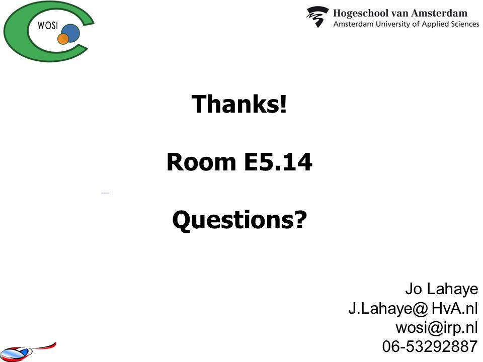 Thanks! Room E5.14 Questions
