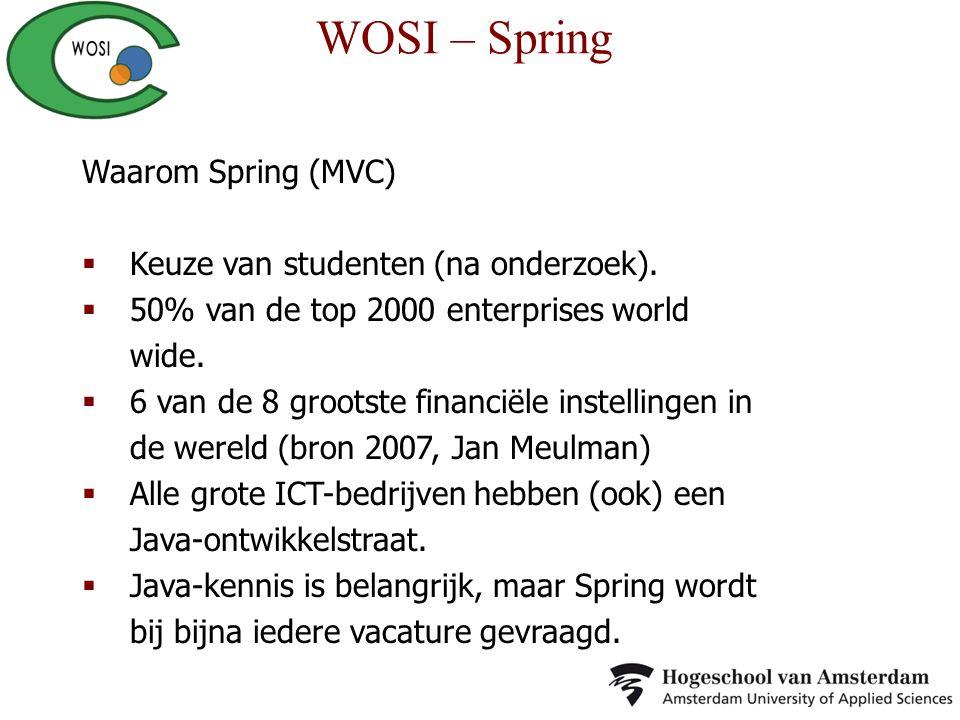WOSI – Spring Waarom Spring (MVC) Keuze van studenten (na onderzoek).