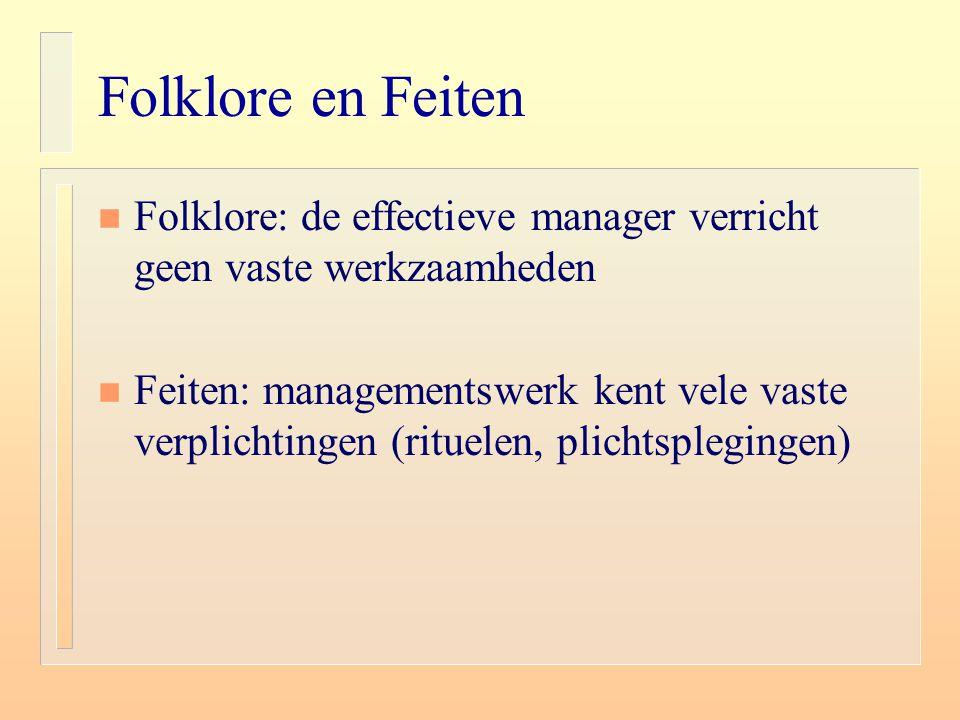 Folklore en Feiten Folklore: de effectieve manager verricht geen vaste werkzaamheden.