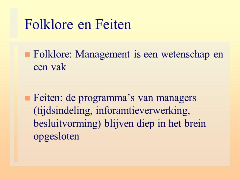 Folklore en Feiten Folklore: Management is een wetenschap en een vak