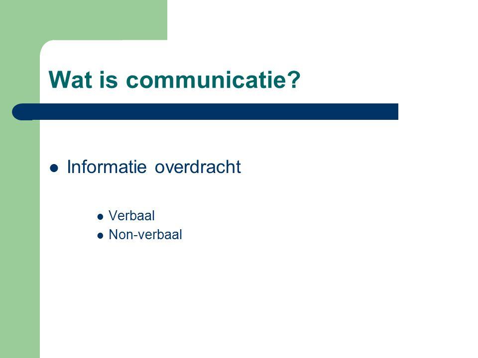 Wat is communicatie Informatie overdracht Verbaal Non-verbaal