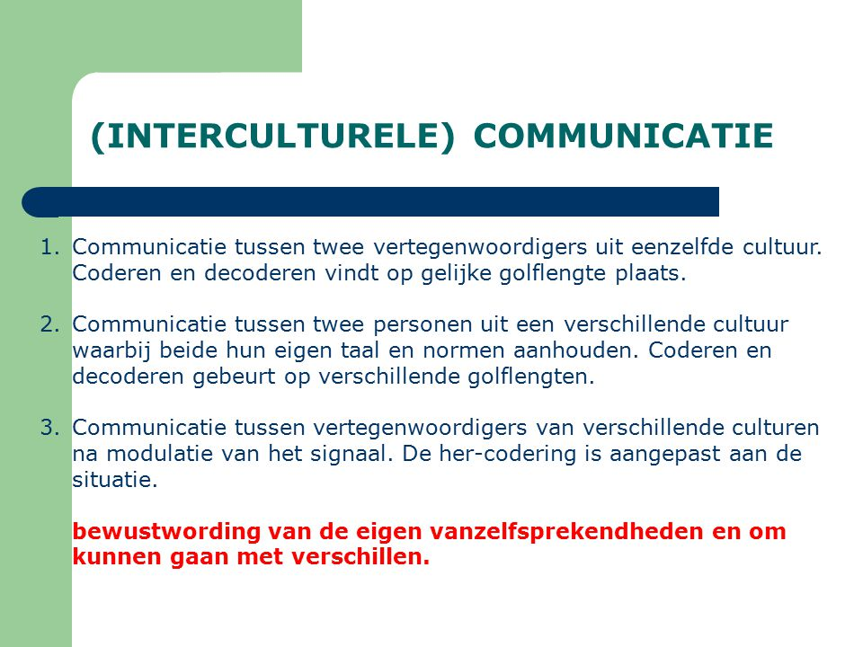 (INTERCULTURELE) COMMUNICATIE