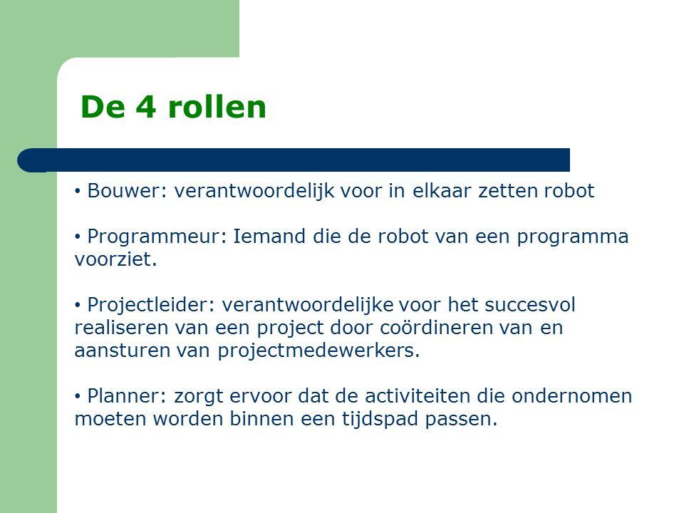 De 4 rollen Bouwer: verantwoordelijk voor in elkaar zetten robot